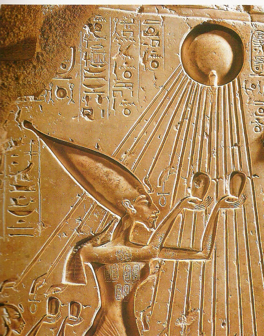Pharoah Akhenaten worshiping Aten-Re priori-Mars Etgyptian myth